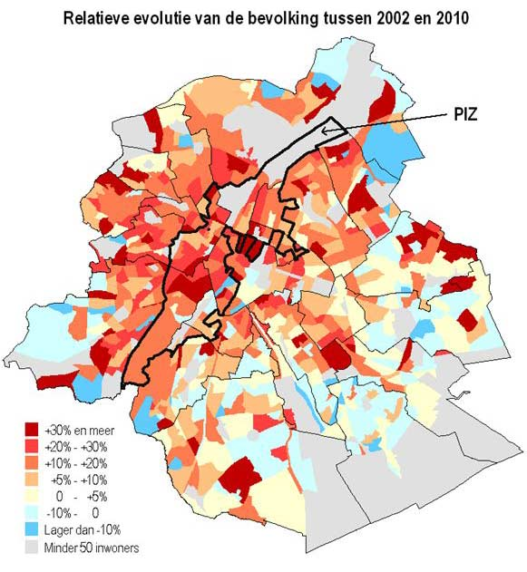 Brussel relatieve bevolking 2002-2010