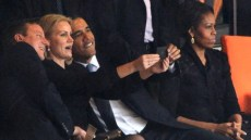 US President Barack Obama's group self-portrait with Danish Prime Minister Helle Thorning-Schmidt and her UK counterpart David Cameron