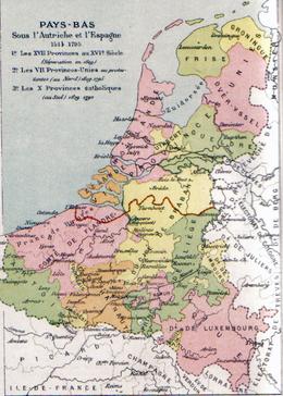 Kaart van de Zeventien Provinciën met in rood een latere staatsgrens tussen de Noordelijke en de Zuidelijke Nederlanden