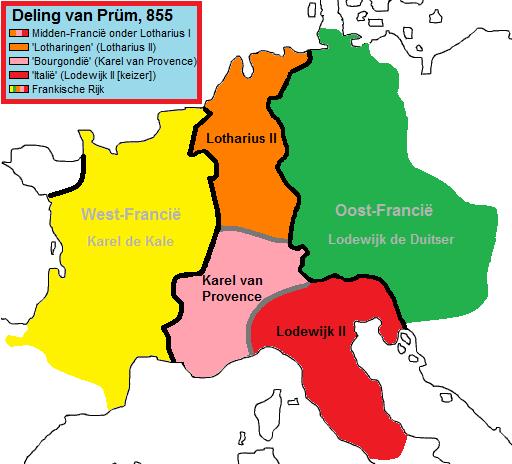 Nederlanden-Francië Deling Prüm 855