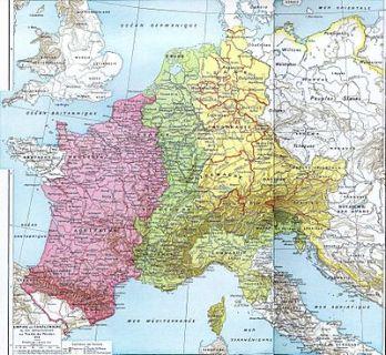 Verdeling van het Frankische Rijk bij het Verdrag van Verdun (843): ██ Karel de Kale (West-Francië) ██ Lotharius I (Midden-Francië) ██ Lodewijk de Duitser (Oost-Francië)