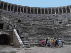 Aspendos theatre from the stage area - 2012 Photo by Ukiws