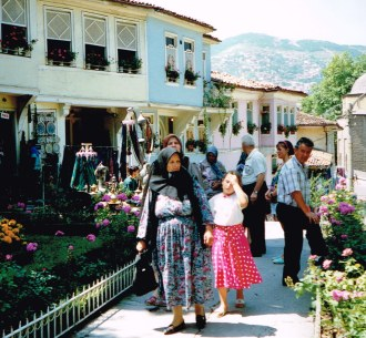 On the street of Bursa on our 1992 Turkey tour
