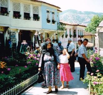 On the street of Bursa on our 1992 Turkey tour
