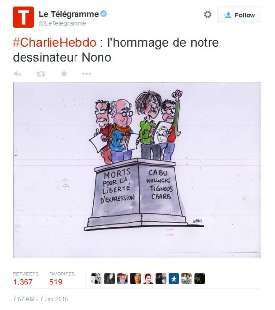 At the Place de La Républic, ´Legalité, Liberté et Fraternité -  Liberty, Equality and Fraternity charlie Hebdo cartoonists by Nono