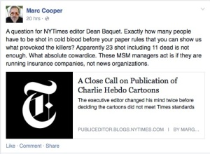M Cooper's question to NYT conc Charlie Hebdo