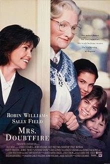 Mrs Doubtfire Blue Wolf Productions,  20th Century Fox Theatrical release poster