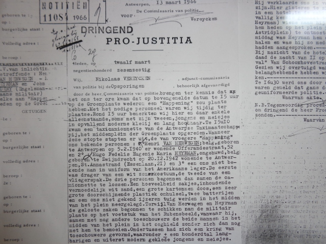 Pro-Justitia document - Official report concerning manifestation  in Antwerp 1966/03/12- Procesverbaal betreft manifestatie te Antwerpen