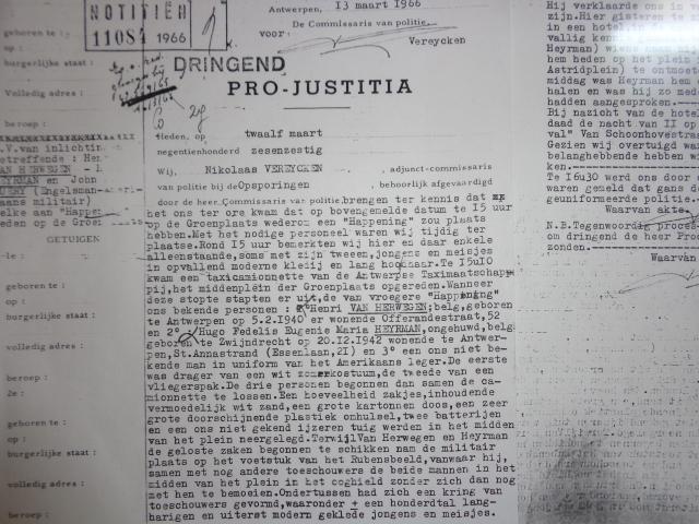 Pro-Justitia document - Official report concerning manifestation  in Antwerp 1966/03/12- Procesverbaal betreft manifestatie te Antwerpen
