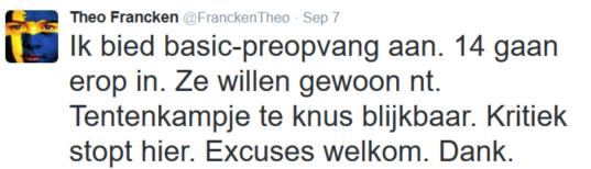 Theo Francken's reactie voor het niet opdagen in WTC