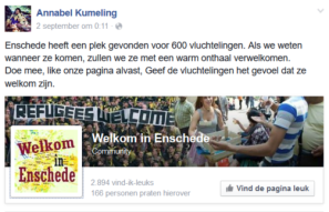 """Enschede has found a place for 600 refugees. If we know when they come, we will welcome them with a warm welcome. Join us, like our page already, give the refugees feel that they are welcome."""