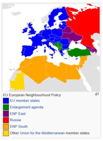 European Neighbourhood Policy (ENP): foreign relations instrument of the European Union (EU) which seeks to tie those countries to the east and south of the European territory of the EU to the Union. The ENP apply to those countries close to EU member states' territories in mainland Europe.