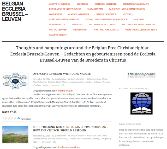 The big competitor between the Cerauno theme and The Journalist theme for the Belgian Christadelphian Ecclesia website