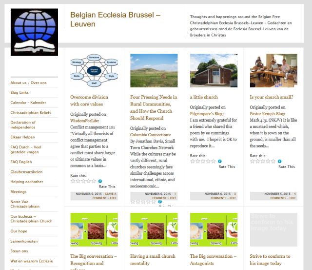 The 2nd competitor between the Cerauno theme and The Journalist theme for the Belgian Christadelphian Ecclesia website