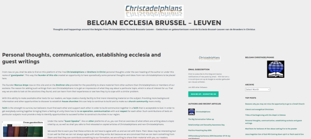 Renewed Christadelphian ecclesia site from November 2-7, 2015 (Cerauno theme)