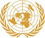 Emblem of the United Nations (UN) an intergovernmental organization to promote international co-operation - Embleem van de Verenigde Naties (VN) een internationale intergouvernementele organisatie, opgericht in 1945 door 51 landen, die samenwerkt op het gebied van het internationale recht, mondiale veiligheid, behoud van mensenrechten, ontwikkeling van de wereldeconomie en het onderzoek naar maatschappelijke en culturele ontwikkelingen.