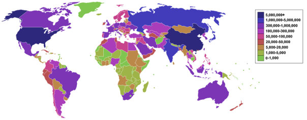 List of countries by carbon dioxide emissions as of March 2006 - Countries by carbon dioxide emissions in thousands of tonnes per annum, via the burning of fossil fuels (blue the highest and green the lowest).