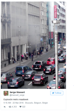 Explosion at Maelbeek metro station in Brussels, close to the city's EU institutions. 22 March 2016