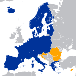 Blue: Schengen Area Green: Countries with open borders Ochre: Legally obliged to join