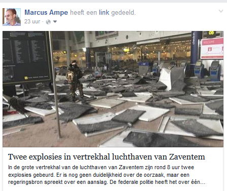 Devastations in Brussels Airport departure hall on 22nd of March 2016